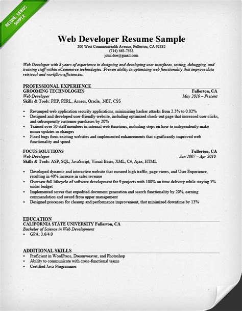 web developer resume sle