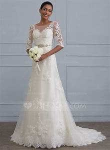 Sheath column scoop neck court train lace wedding dress for Scoop neck sheath wedding dress