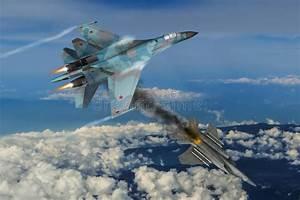 Modern fighter dogfight stock illustration. Illustration ...