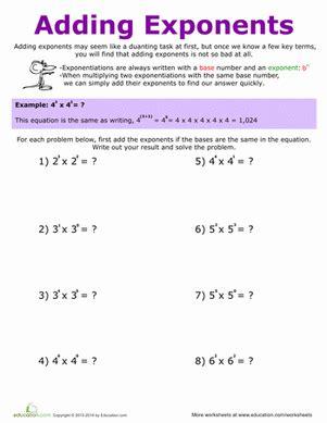 adding exponents worksheet education