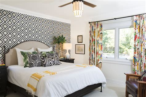 accent wall  geometric wallpaper  colorful drapery