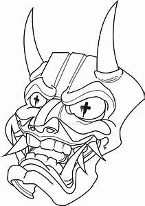 Oni mask coloring pages for Kabuki mask template