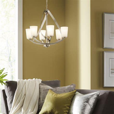 shop kichler lighting layla  light brushed nickel chandelier  lowescom lighting brushed