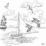 Coloring Sailboat Colorear Barca Dibujos Printable Animales Vuelan Colorare Dibujo Disegno Zeilboot Kleurplaat Velero Pelicans Colouring Paisaje Adult Boat Disegni sketch template