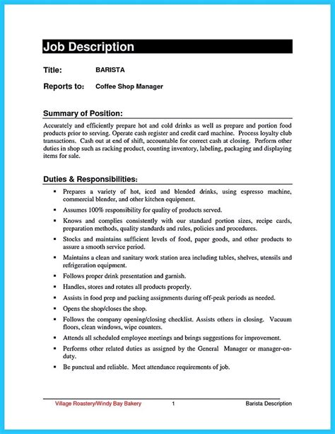 Barista Description Resume by Barista Duties Resume Talktomartyb