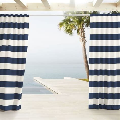 navy and white striped curtains west elm outdoor stripe curtains navy west elm