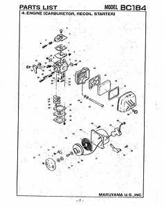 Maruyama Bc184 Engine  Carburetor  Recoil Starter