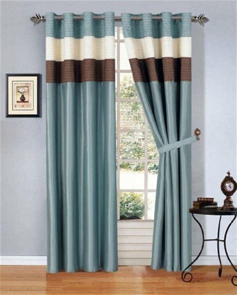 Blue And Brown Drapes - modern blue brown beige faux silk taffeta grommet