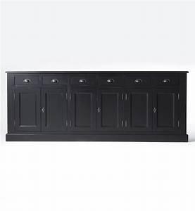 Buffet Bas Noir : enfilade noire 6 portes 6 tiroirs bois massif made in meubles ~ Teatrodelosmanantiales.com Idées de Décoration