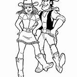 Coloring Cowgirl Country Ten Doing Dance Step sketch template