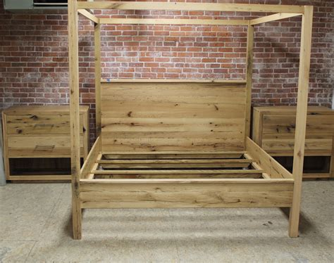 modern reclaimed oak king poster bed lake  mountain home