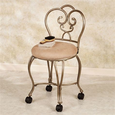 vanity chair with back and wheels lecia vanity chair