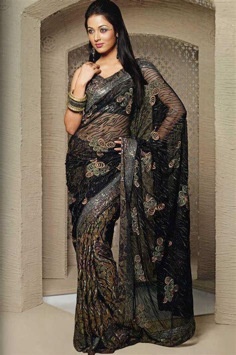 ladies lifestyle black colour designer sarees