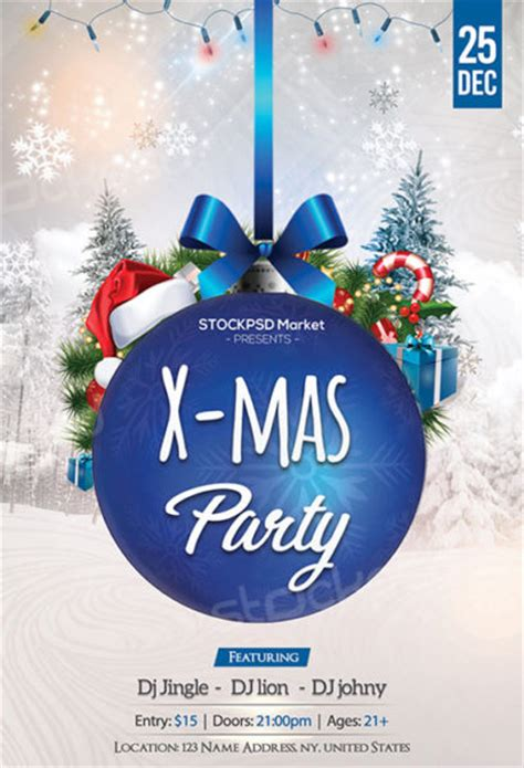 christmas twilight market flyer template free download3 blue christmas party free flyer template download for