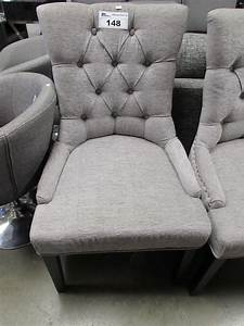 Grey, Studded, Button, Wing-back, Chair