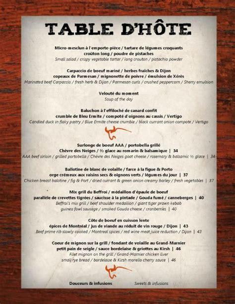 Restaurant Table Menu by Table D Hote 1 Restaurant Menu Formats