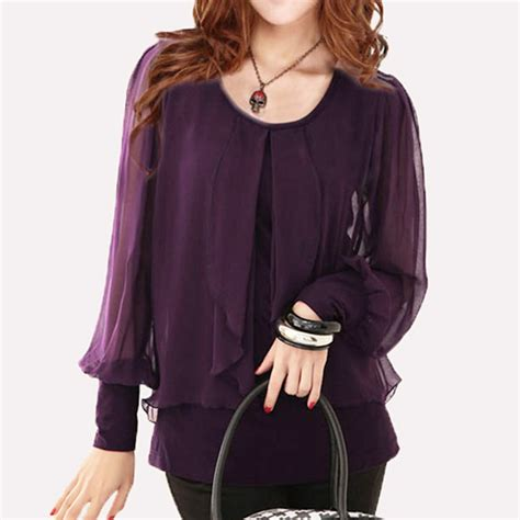 purple blouse womens black shirt slim plus size top purple chiffon shirts