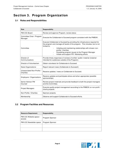 Non Profit Charter Template by Pmi Charter Template Pmi Project Charter Template Edit