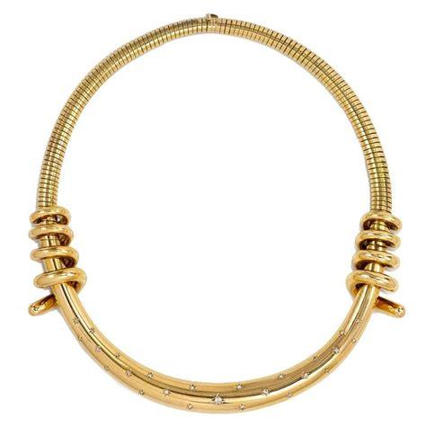 1940s Mellerio Diamond Gold Torque Style Necklace For Sale