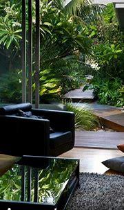 Modem Living with tropical gardens background   Urban ...