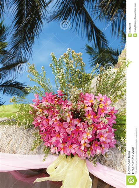 wedding arch  set   flowers  tropical beach