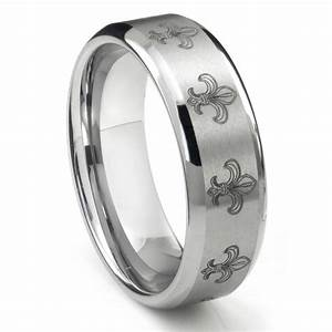tungsten carbide fleur de lis wedding band ring With fleur de lis wedding rings