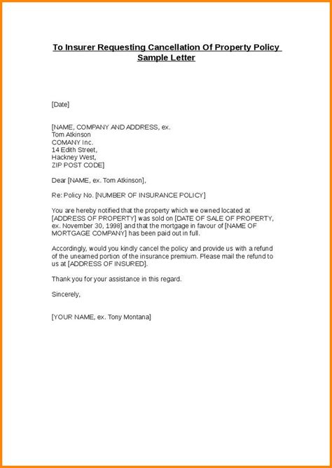cancellation letter template insurance cancellation request