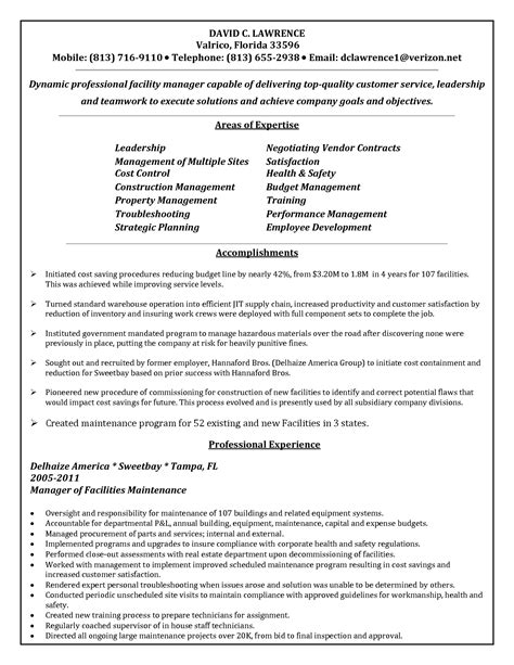 Free Resume For Maintenance Manager by Maintenance Supervisor Resume Sle Best Template Collection