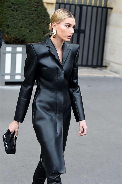 hailey baldwin  black leather coatl  paris march