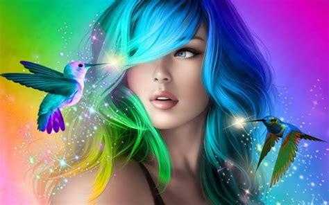 beautiful girl  colorful hair desktop wallpaper hd