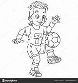 Coloring Football Player Footballer Colouring Cartoon Playing Coloriage Soccer Boy Calciatore Young Colorear Futbol Dibujos Fussballer Clipart Childish Pagina Fotboll sketch template