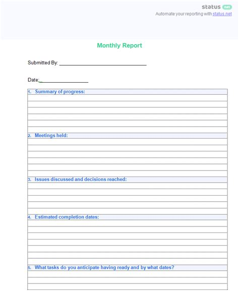 smart monthly report templates   write