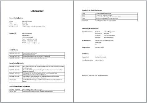 Lebenslauf Muster by Muster Lebenslauf Word Muster Lebenslauf 214 Sterreich 2016