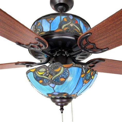 Blue Bedroom Ceiling Lights by Stained Glass Ceiling Fan And Light Shades Of Blue 48 In