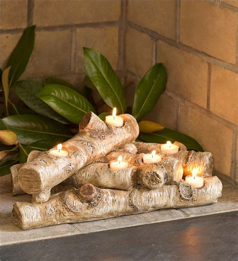 log candles for fireplace logs hearth candle holder fireplace candelabras