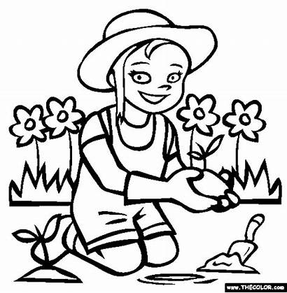 Gardening Coloring Pages Letter
