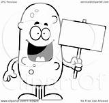 Pickle Sign Holding Coloring Cartoon Mascot Vector Outlined Clipart Thoman Cory Royalty Regarding Notes sketch template