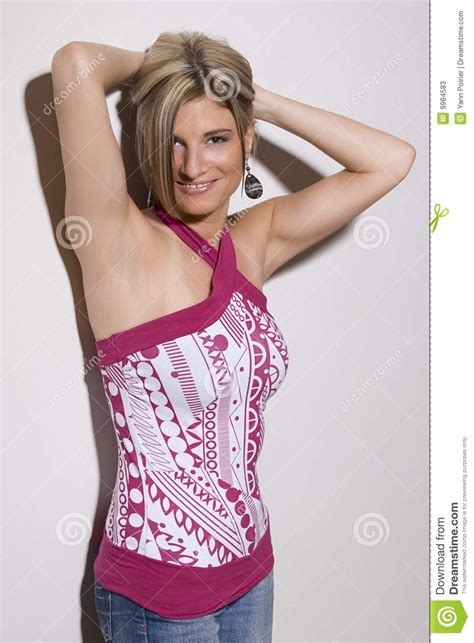 Hot Girl In Hot Pink Stock Image Image Of Person Blonde