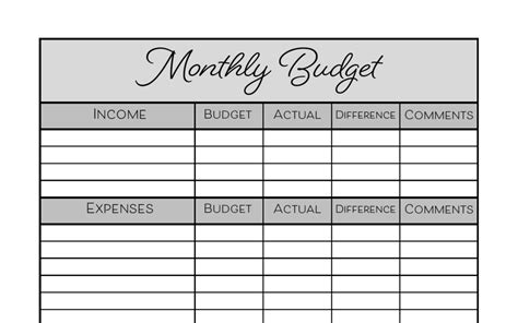 monthly budget printable  images monthly