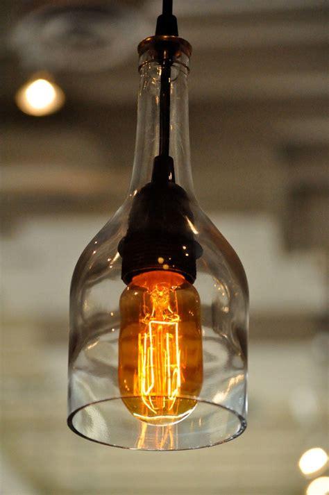 recycled glass bottle hanging gin lamp pendant  edison