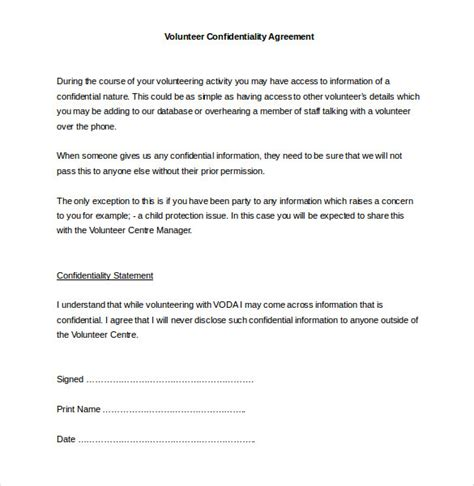 word confidentiality agreement templates