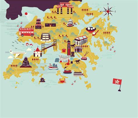 hand drawn vector map tourist attractions  hong kong