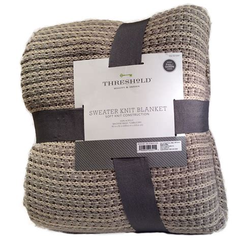 threshold sweater knit blanket threshold sweater knit blanket gray tan size full queen check back soon blinq