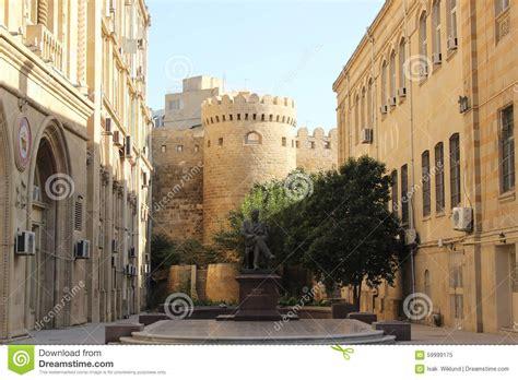 Walls Of Old Baku, Azerbaijan, Architecture, Castle Stock