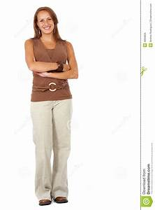 Casual woman standing up stock photo. Image of image ...