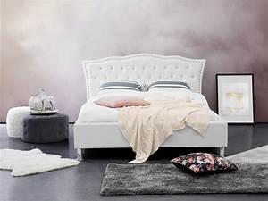 Lit Double Blanc : lit en cuir blanc lit double lit avec rangement lit 140x200 cm metz ~ Teatrodelosmanantiales.com Idées de Décoration