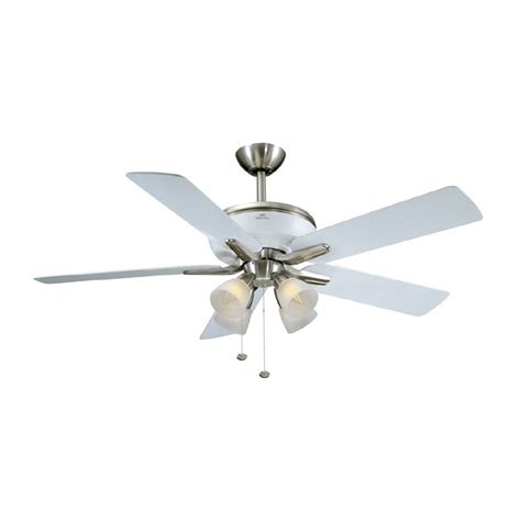 52 brushed nickel ceiling fan shop harbor breeze 52 quot tiempo brushed nickel white