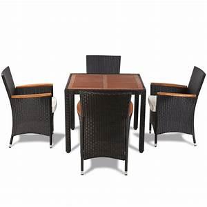 Rattan Sitzgruppe Günstig : poly rattan gartenset sitzgruppe mit 4 st hlen 1 tisch mit holzplatte g nstig kaufen ~ Indierocktalk.com Haus und Dekorationen