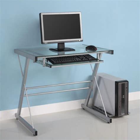 glass top computer desk walker edison solo small glass top computer desk in silver
