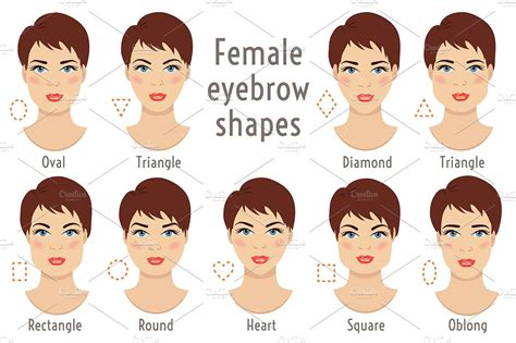 eyebrow shapes face types graphics creative market